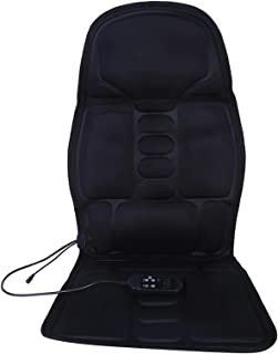 Cojín de asiento de masaje para coche, cojín de asiento de masaje de cuerpo completo lumbar para coche eléctrico con calefacción, masajeador de vértebra cervical corporal(EU plug)