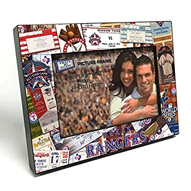 MLB Texas Rangers Wooden Ticket Collage Picture Frame, Black, 4 x 6 /Small