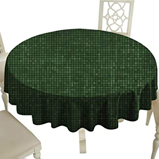 longbuyer Forest Green Washable Tablecloth Spotty Pattern with Symmetric Little Dots Modern Design with Futuristic Look Diameter 54