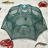 Zreal 6 agujeros plegable de malla de nylon cangrejo camarón red trampa de fundición de la jaula de inmersión de la pesca cebo para peces pececillo cangrejo