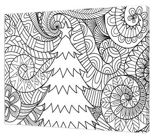 pintcolor 9094 châssis avec toile imprimée à colorier, Wood, blanc/noir, 40 x 30 x 3,5 cm
