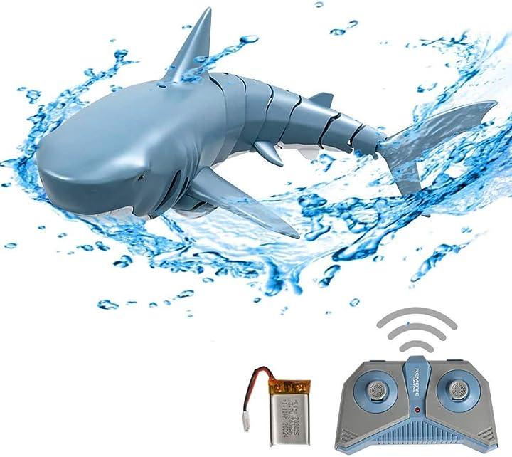 Squalo telecomandato 2.4g simulazione per il giocattolo del bagno della piscina goolsky rc shark boat toy B08924B93P