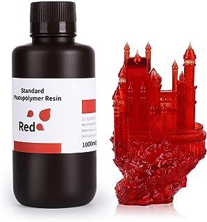 ELEGOO 3D Printer Standard Resin LCD UV-Curing Resin 405nm Standard Photopolymer Resin for LCD 3D Printing 1000Gram Clear Red