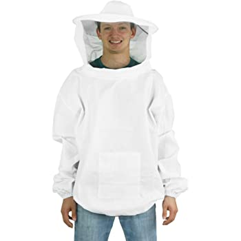 Beekeeper Beekeeping Protective Veil Suit Dress Jacket Smock Bee Hat White