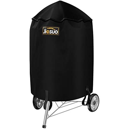JIESUO BBQ Grill Cover for Weber Charcoal Kettle Heavy Duty Waterproof 22 Inch Weather Resistant Barbeque Grill Covers