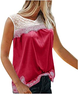 OULSEN Fashion Splice Lace Tank Top for Women Summer Casual Loose Crew Neck Sleeveless T-shirt Lace Appliques Blouse Top