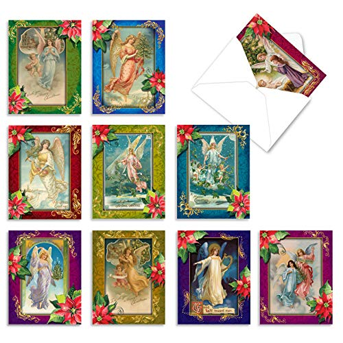 The Best Card Company - 10 Retro Christmas Cards Blank - Assorted Vintage Holiday Cards, Boxed Stationery (4 x 5.12 Inch) - Christmas Angels M1747XB
