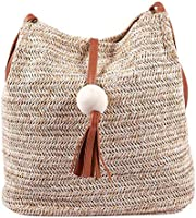 Beauneo Bolso de cuero hecho a mano de la vendimia de Bali,Bolso redondo de la playa de la paja Bolso de la rota de las...