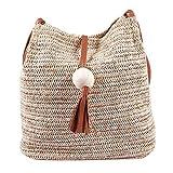 Didad Bolso de cuero hecho a mano de la vendimia de Bali,Bolso redondo de la playa de la paja Bolso de la rota de las muchachas,bolso pequeno de la rota de Bohemia de las muchachas(marron)