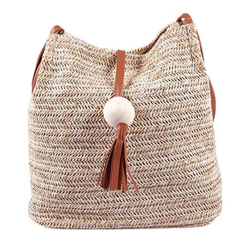 Beauneo Bolso de cuero hecho a mano de la vendimia de Bali,Bolso redondo de la playa de la paja Bolso de la rota de las muchachas,bolso pequeno de la rota de Bohemia de las muchachas(marron)