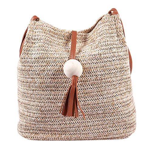 NEYOANN Bali Bolso de cuero cruzado hecho a mano vintage de paja redonda Bolsa de playa Niñas Círculo de ratán Pequeño bolso de hombro bohemio (Marrón)