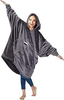 HOMELEX Sweatshirt Blanket Hoodie Wearable Blanketed Warmth, Softest, Plush for Adult Men Women (Gray)