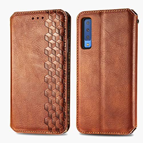 Leather Wallet Case for Galaxy A7 (2018) PU Leather Magnetic Flip Cover with Card Slots Holders Bookstyle Wallet Case for Samsung Galaxy A7 2018 - JESD080073 Brown