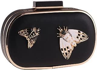Womens Jeweled Moth Stud PU Leather Evening Clutch Bag Mini Formal Purse