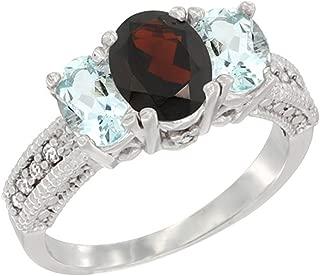 10K White Gold Diamond Natural Garnet Ring Oval 3-stone with Aquamarine, sizes 5 - 10