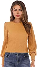 Aunimeifly Womens Sweater Basic Tops Solid Lantern Sleeve Blouse Casual Long Sleeve T-Shirts O Neck Shirt Blouses