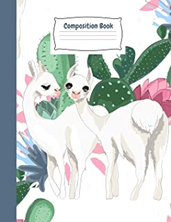 Whimsy Llamas Primary Story Journal Composition Book: White Kindergarten to Year 2 Draw and Write Creative Writing Noteboo...