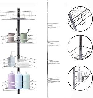 Estantes Baño Telescópica, Estantería para Ducha en Metal de Esquina,Soporte de Cromado con 4 Cestos y Toallero Altura Ajustable 233-243cm, Plata