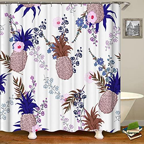 WILLMEIH Badezimmer Vorhang Ananas Obst Blume 36