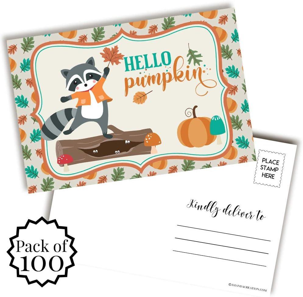Hello Pumpkin Cute Raccoon Fall San Max 64% OFF Antonio Mall To Postcards Themed Send Blank