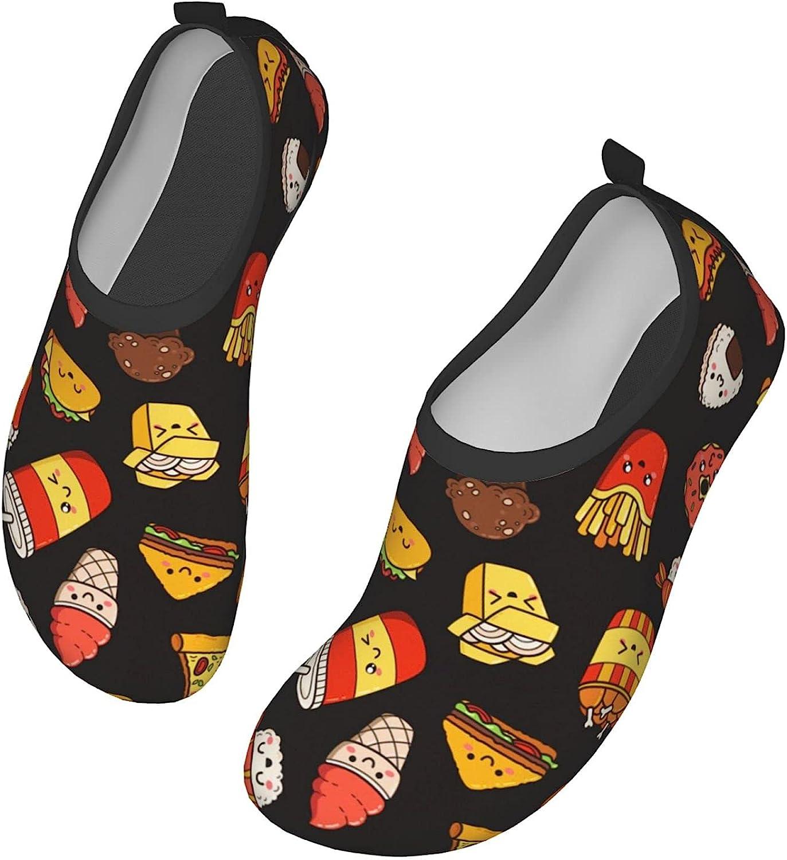 Water Shoes Women's Men's Cartoon Doodle Icons Junk Food Barefoo