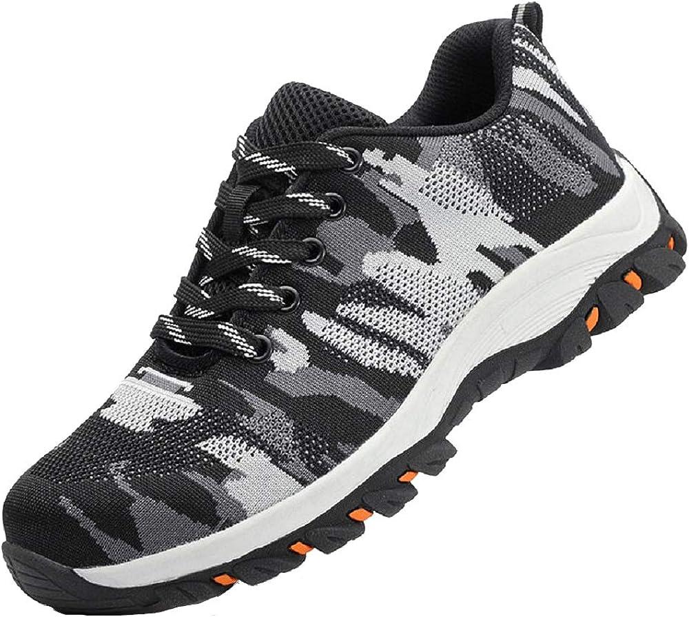 Dogeek scarpe antinfortunistiche da lavoro unisex con puntale in acciaio camo nero