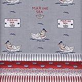 Stoffpak bundle de telas - 5 telas Bebé marinero ROJO, con gris, azul y blanco - colección de telas de coordinación (pequeños diseños) | 100% algodón | 35 x 50 cm