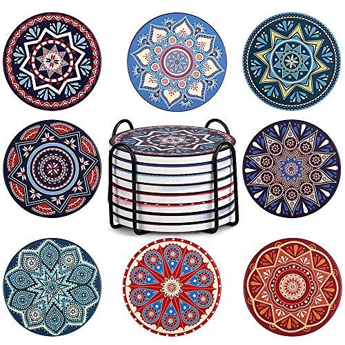Newanov - Posavasos de cerámica con base de corcho, 8 unidades, con soporte de metal, diseño de mandala, para decoración de la casa, sala de estar o cafetería, decoración e inauguración de la casa