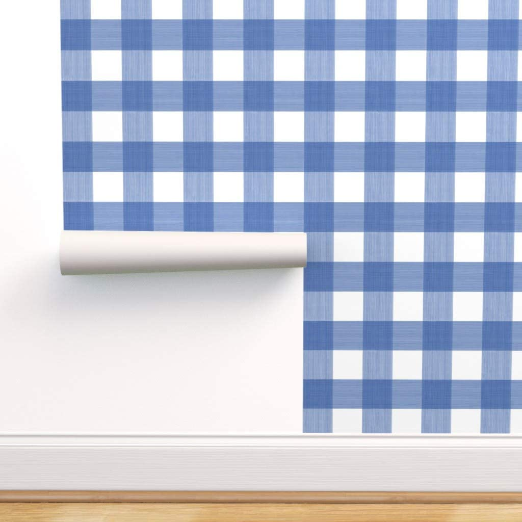 Removable Water-Activated Wallpaper - Blue Watercolor Buff Max 64% OFF Plaid Trust