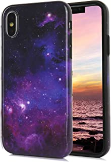 iPhone Xs iPhone X Case Cute Galaxy Blue Purple Starry Sky Floral Pattern IMD Hybrid Hard TPU Shockproof Phone Cases for Women Girls Men Boys[5.8