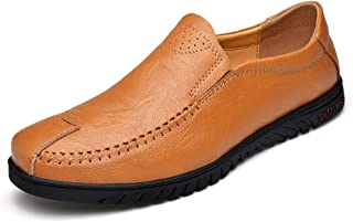 Ranipobo Driving Penny Loafer for Men Business Oxfords Slip On Style Genuine Leather Handmade Stitching for Men (Color : Yellow, Size : 5.5 UK)