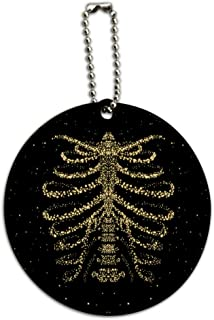 Rib Cage Skeleton Bones Stars Galaxy Round Wood Luggage Card Carry-On ID Tag
