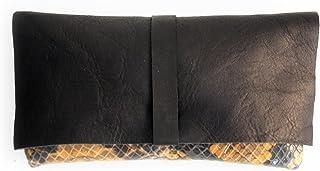 Clutch Ely, borsa / borsetta / clutch / pochette in morbidissima pelle / nappa color nero e pitone.