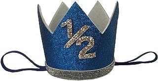 iMagitek Baby Boy 1/2 Birthday Crown Hat, Baby Boy 6 Month Birthday Party Hat Headband - Silver & Blue