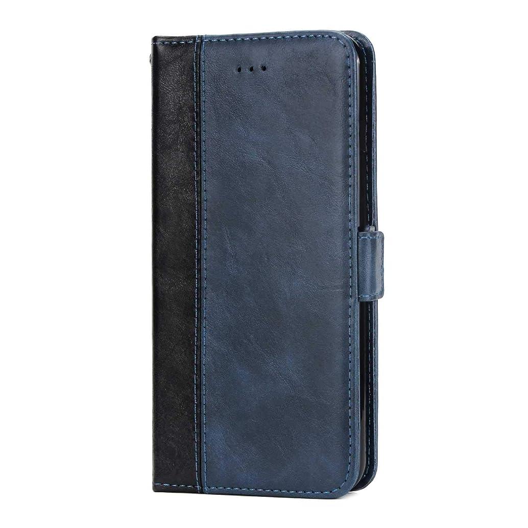 延ばすストライプ制約OMATENTI Huawei P20 Pro 手帳ケース マグネット式 カバー Huawei P20 Pro 高級PUレザー カードポケット スタンド機能 薄型 スマホケース(3-ブルー)