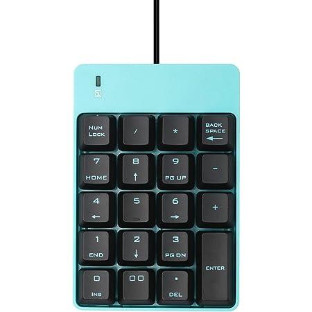 USB Numeric Keypad, Jelly Comb Portable Slim Mini Number Pad for Laptop Desktop Computer PC, Full Size 19 Key, Big Print Letters - Black and Blue