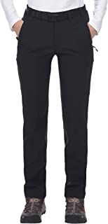 Women's Winter Hiking Pants Stretch Softshell Pants with Fleece Lined, Water Resistant, 6 Zip Pockets, Black