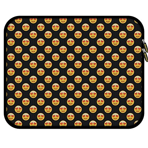 AMZER 11.25' Designer Neoprene Sleeve for Notebook, Chromebook, Tablet, iPad with 5 Pieces Screen Cleaning Kit and Headset Organizer - Emoji Love (AMZ501040040002)