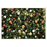 Funnytree 7x5ft Christmas Tree Lights Photography Backdrop Merry Xmas Part of Winter Green Pine Background with Hanging Balls for Baby Shower Birthday Party Banner Selfie Portrait Photo Booth Studio
