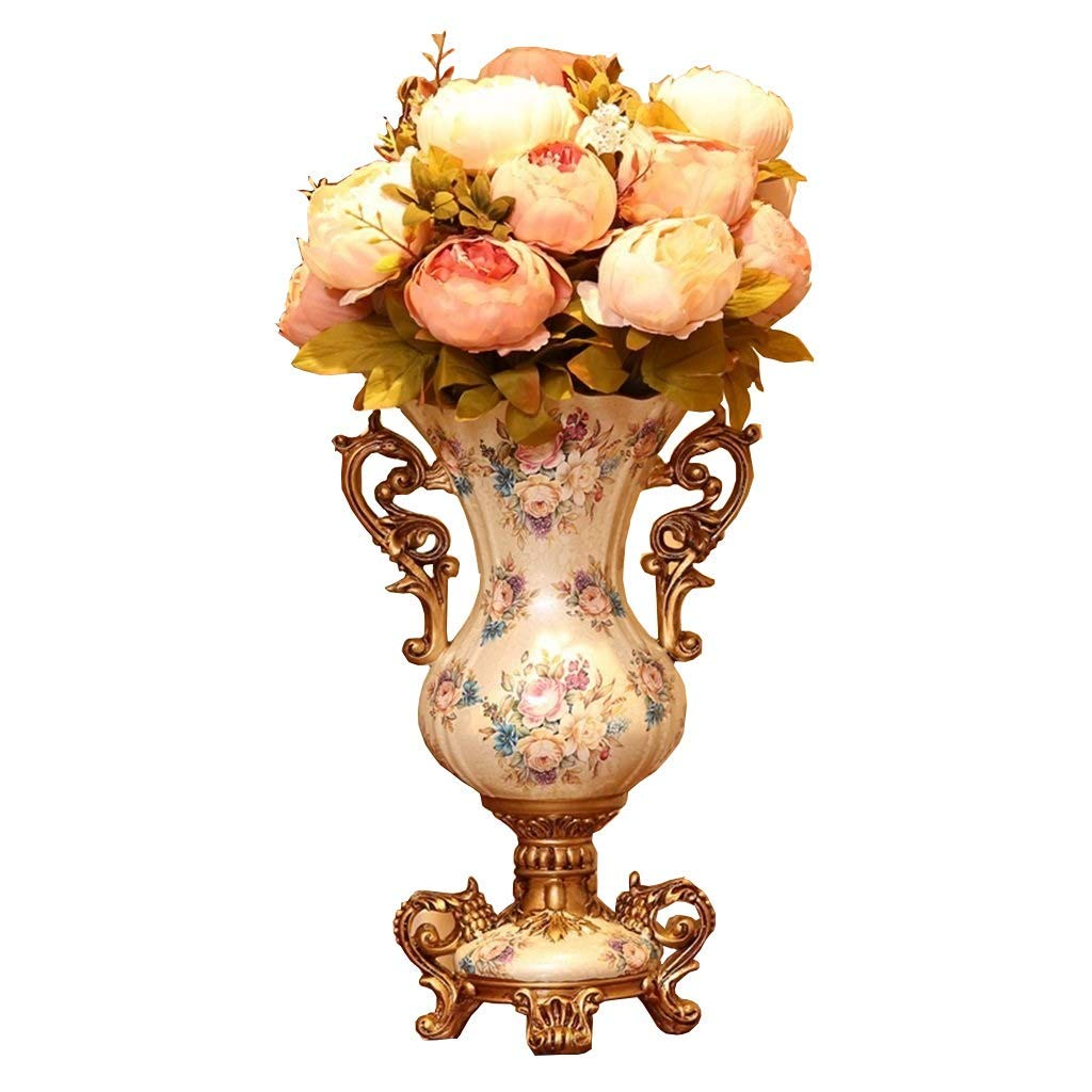 Amazon Co Jp European Style Retro Resin Tall Vases With Artificial Flower Arrangements Bouquets For Living Dining Room Table Centerpiece Bedroom Office Hotel Home Decoration Large Decorative Face Flower Vase 55cm Home Kitchen