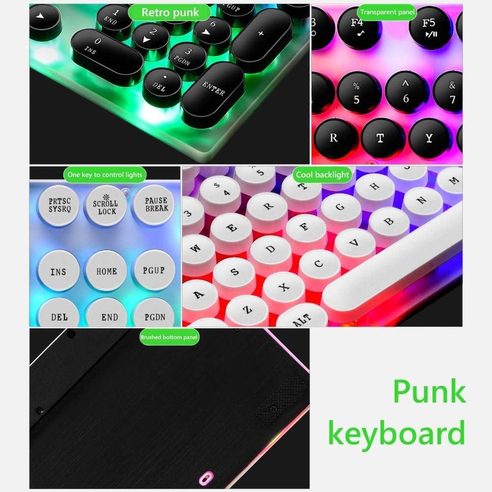 newshijieCOb Manipulator Sense Punk Glow Keyboard and Mouse Set GTX30//K820 Wired USB 104 LED Backlit Gaming Keyboard for PC Computer Black K820