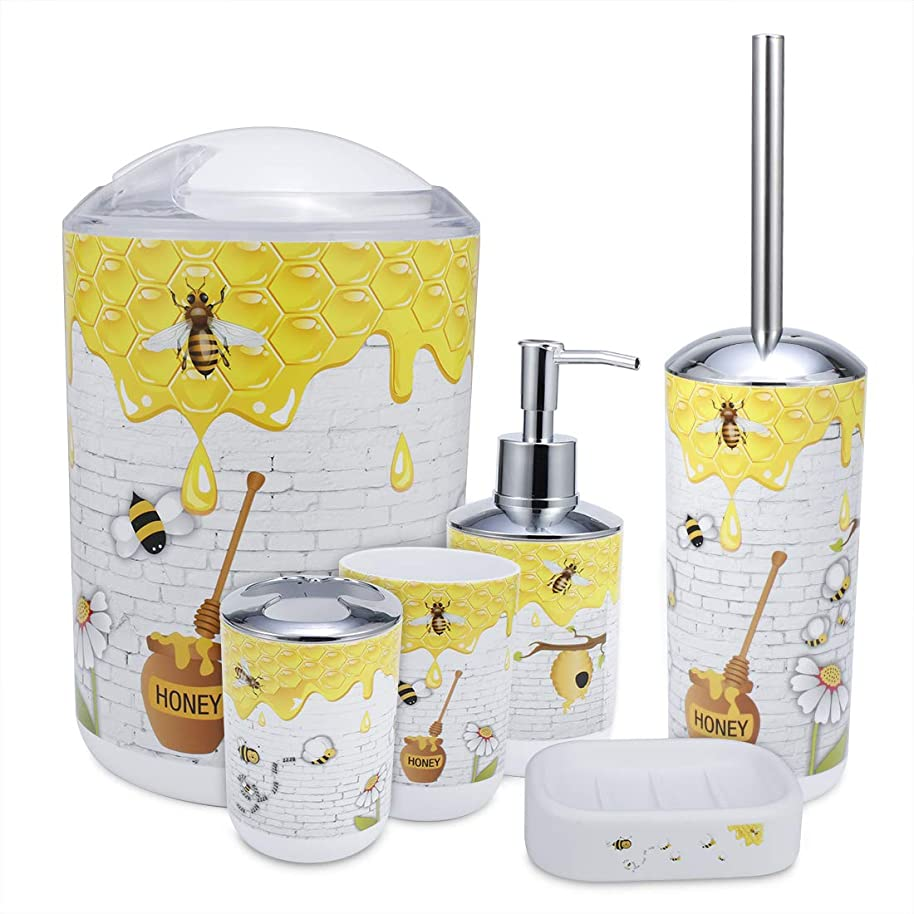iMucci Cute Bee 6pcs Bathroom Accessories Set - with Trash Can Toothbrush Holder Soap Dispenser Soap and Lotion Set Tumbler Cup
