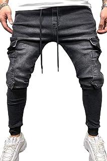 Winwinus Mens Ripped Hole Straight Leg Pull On Cowboy Casual Pant