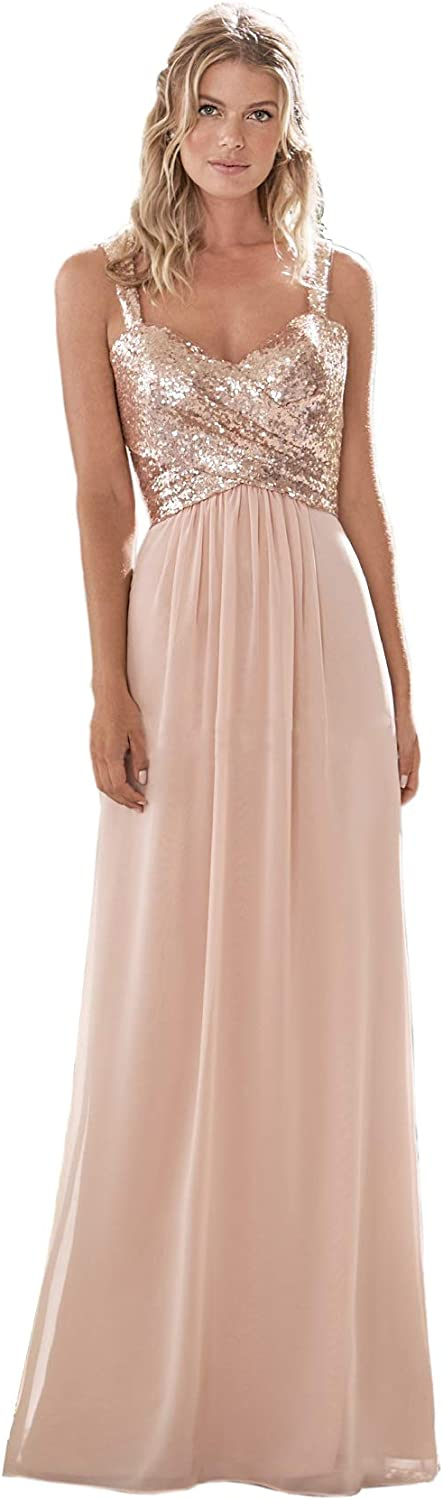 Lilyla Rose Gold Sequined NEW Long Bridesmaid Sweethear A 1 year warranty Line Dress