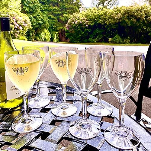 Juego de 6 vasos de vino de abeja de policarbonato prácticamente irrompibles desde casa en el país, bañera de hidromasaje, boda, celebración, compromiso, fiesta regalo