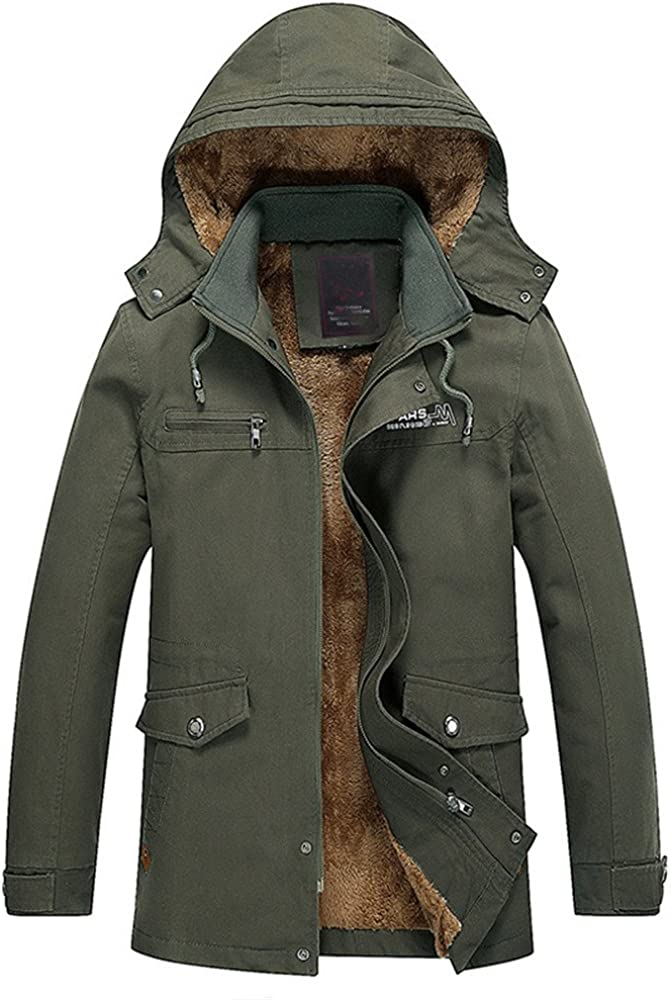ZOOB MILEY Men's Winter Thicken Jacket Fleece Cotton Outwear with Removable Hood