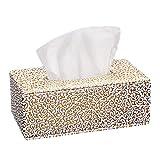 JUNGEN Piel tejido caja de pañuelos de decoración para hogar oficina y coche, Golden, 25.5*14*9.5cm