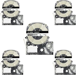 Replace Label Tape for Epson LK3WBN LC3WBN9(SS9KW), Label Tape Cartridge Compatible for Epson LabelWorks LW300 LW400 LW500 LW600P LW700 Black on White 3/8 Inch X 26.2 Feet(9mm x 8M),5 Pack
