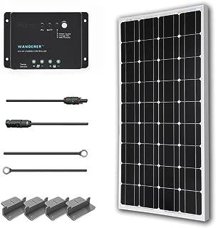 Renogy 100 Watts 12 Volts Monocrystalline Solar Starter Kit with Wanderer (Negative Grounded)