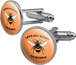 GRAPHICS & MORE Let's Get Ready to Bumble Bee Rumble Funny Humor Round Cufflink Set Silver Color